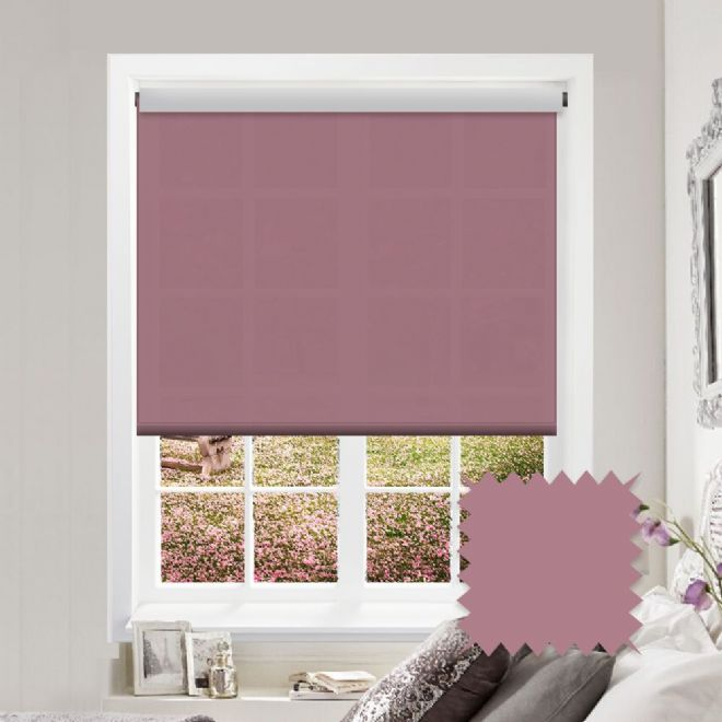 White Roller Blind - Astral Arcadia Pink Plain - Just Blinds
